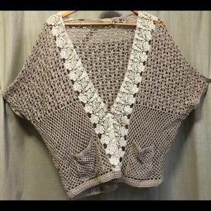 Crochet Vest Ladies Small Tan Festival BOHO Cotton
